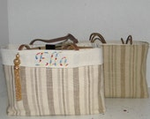 2  Brown Striped  Monogrammed/Personalized Tote, Purse,Easter, Bridesmaid Gift, Flower Girl, MOB, MOG,Cheer Squad, Brownie