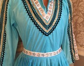 Vintage 50s Squaw Patio Set Dress 2 Pc Blouse and Full Skirt S