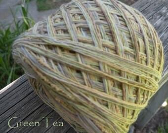DK sport yarn: Green Tea cotton blend, 200 yards 2 skeins, by dj runnels, green gold beige yellow