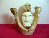 Vintage Eskimo Whale Disk Bone Sculpture by Aningayou 2 Faces Masks in Vertebrate Alaska Inuit Folk Art