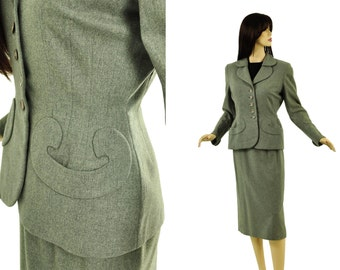 Vintage 50s Gray Suit S Grey Wool Tailored Jacket and Skirt