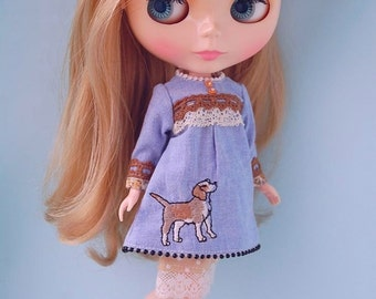 Blythe lovely denim dress set....2 animal for choose