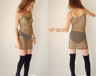 25% off every sunday sale Bandage Mini Dress Vintage 80s 90s See Through Netted Metallic Body Con Bandage Mini Dress (s m)