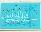 THE MARINA | summer sailboats in retro red white and blue, a happy handmade silkscreen print by Kathryn DiLego