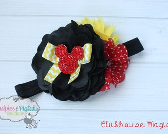 Minnie baby headband { Clubhouse Magic } Red, black and yellow, shabby Flower Headband first Birthday, cake smash photography prop