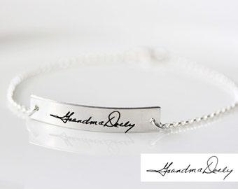 Handwriting Bracelet - Keepsake Engraved Bracelet Gold Handwriting Bracelet Custom Bracelet Signature Handwriting Bracelet Handwritten