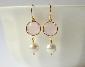 Pink Pearl Dangle Earrings