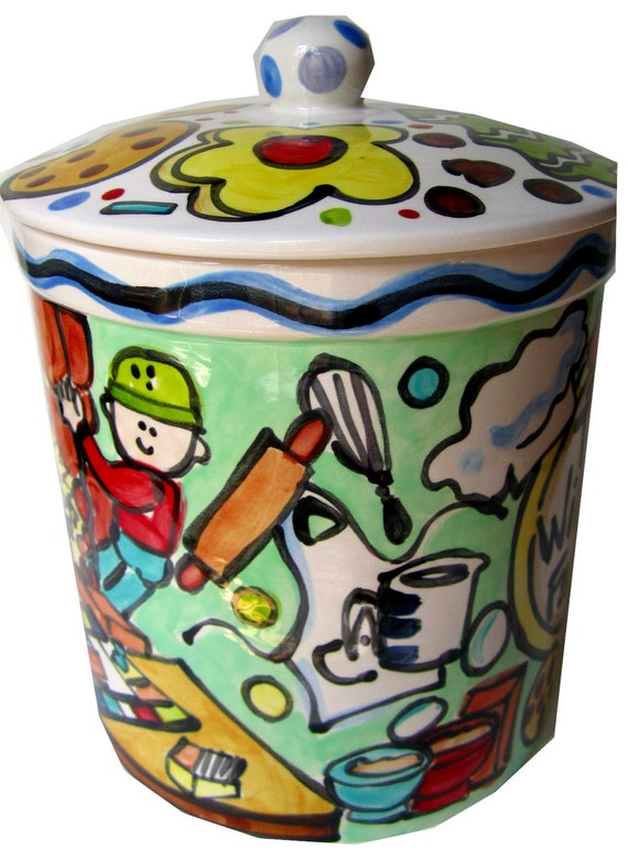 custom story art large cookie jar personalized family style