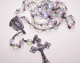 1950s STERLING SILVER & Aurora Borealis Crystal Rosary