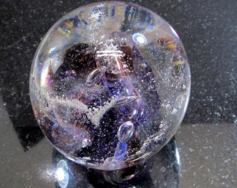 PURPLE Memorial CREMATION GLASS Blown Glass Orb - Nebula Swirl Paperweight - (Pet Ashes Only)