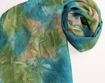 Silk Infinity Scarf - Hand Painted Circle Scarves Cerulean Blue Light Navy Garden Avocado Green Peach Orange