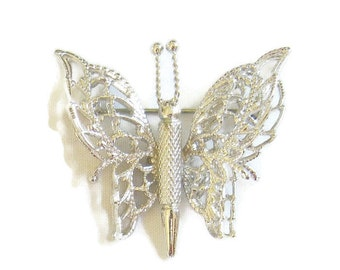 Vintage Silver Tone Double Layer BUTTERFLY Brooch or Pin signed MONET