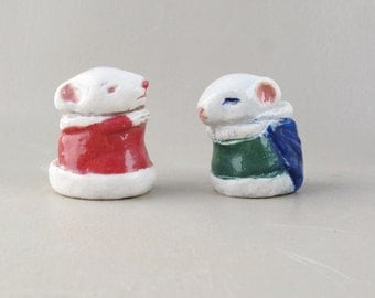 Holiday Mice Ceramic Figurine Sculpture Pocket Pet Mouse Porcelain Tiny Figures Christmas Art