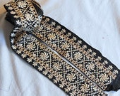 Art Deco FANCY ECRU PINWHEEL Embroidered Trim on Black Satin, Leaves Lattice Polka Dots, Clothing Purse Hat Pillow 1930 Boho Chic 1.7 yd #28