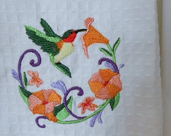 Vibrant HUMMINGBIRD & FLOWER GARLAND Tea Towel, Morning Glory Scrolls, Detailed Embroidery Sparkling White Cotton, Valentine Gardener Gift