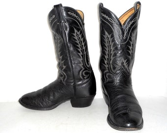 Mens 10 D Tony Lama Cowboy Boots Black Biker Country Rockabilly Punk Shoes