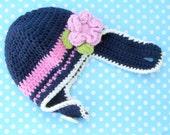 Winter Hats for Kids, Pink and Navy Hat, Crochet Girl Hat, Winter Hat with Flower, Crochet Kids Hat, Kids Winter Hat