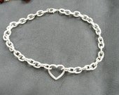 Vintage Silver Necklace / Choker with Contiguous Heart Pendant / Link
