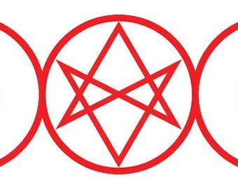"Triple Moon with Unicursal Hexagram - 6x2.5"" vinyl sticker"