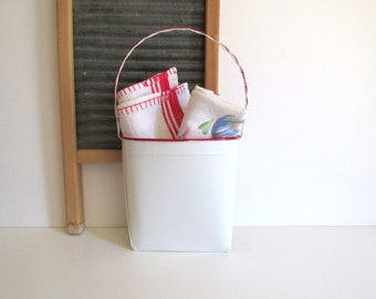 White Enamel Basket Red Trim Wall Decor Farmhouse Style