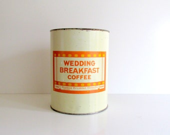Vintage Tin Wedding Breakfast Coffee Flour Tin Orange Cream Denver Colorado