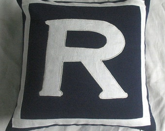 monagram pillow  Letter R midnight blue and white monogram pillow cover 20 inch-  on  sale 30 0ff. 2 in  istock