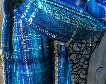 Handwoven Scarf SAORI inspired Peaceful Blue Wrap