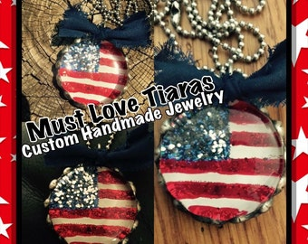 Hand painted American Flag glass pebble soldered pendant