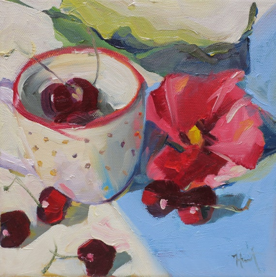 Cup of Plenty a still life oil painting by South Carolina artist Linda Hunt...impressionism, impressionistic