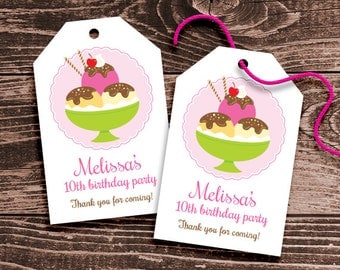 Personalized Ice Cream Sundae Party Favor Tags – DIY Printable – Hang Tags (Digital File)