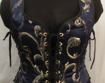 Odd Bodkin Wench Bodice in Navy/Gold Provence Damask