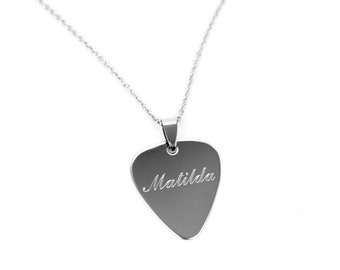 Engraved Guitar Pick, Personalize Necklace, Stainless Steel Necklace, Guitar Pick Necklace, Silver Necklace, Engraved Mens Necklace