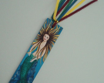Hand Painted Wooden Mermaid Book Mark, Miniature Art, Miniature Painting, Acrylic Painting, The Little Mermaid, Seascape, Reading, Books