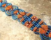 Copper and Blue Macrame Bracelet - Micro Macrame Leaves Bracelet - Macrame Bracelet - Broncos Colors - Team Spirit - Orange and Blue