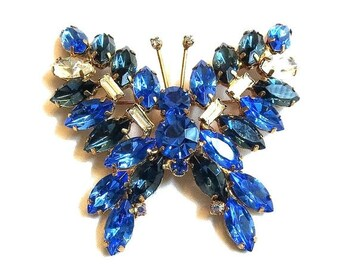 Vintage Large Sapphire Blue & Clear Rhinestone Butterfly Brooch or Pin