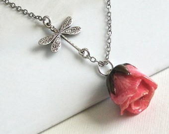 Pink Real Rosebud Necklace - Natural Preserved, Dragonfly, Sterling Silver, Flower Jewelry