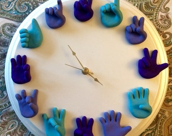 Custom American Sign Language Clock - ASL Art - Unique Wall Clock - Wood and Clay - Child's Playroom or Nursery Clock - You Choose Colors
