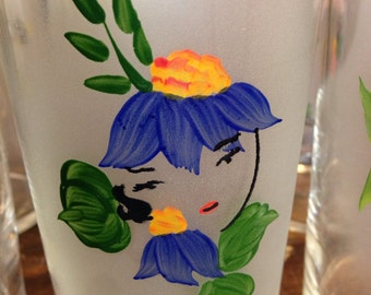 Federal Glass Co. Hand Painted Tumblers