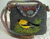 Felted Purse, Felted Handbag, American Gold Finch, Needle Felt Bird
