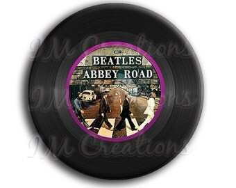 "Vinyl Record Beatles Pocket Mirror, Magnet or Pinback Button - Wedding Favors, Party themes - 2.25"" MR505"