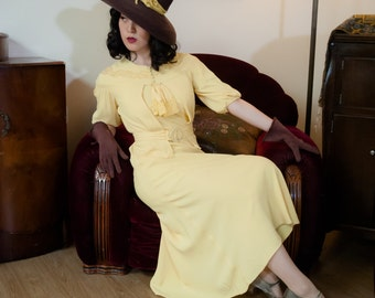 Vintage 1930s Dress - Sensational Lemon Yellow Rayon Crepe Bias Cut 30s Gown with Matching Bolero and Lace Trim