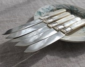 Antique Mother-of-Pearl & Sterling Fruit Knives, Rope and Stars, Shelton Cutlery Co., Wedding Gift, Family Silver