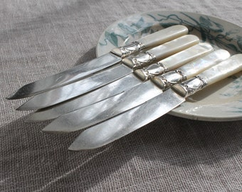 Antique Mother-of-Pearl & Sterling Silver Fruit Knives, Rope and Stars, Shelton Cutlery Co., Wedding Gift, Family Silver