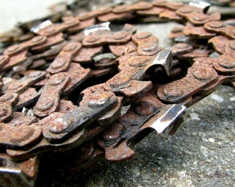 2 Rusty Chains Vintage Salvaged Chain Saw Chains Metal Industrial Mixed Media 3D Assemblage Altered Art Craft Supply