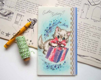 Vintage Glittered Kittens Cat with a Birthday Present Greeting Card