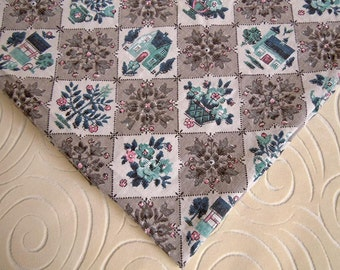 1 Yard Mid Century Cotton Fabric | Gray Pink Turquoise | Little Houses Checkered Print