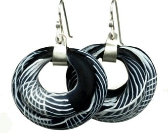 Turkish Ottoman Big Black Hoop Earrings in Polymer Clay and Sterling silver