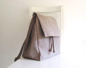 Linen  Backpack in Natural Color