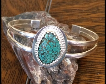 Silver cuff, silver bracelet, silver turquoise cuff,  Sterling silver, Turqoise, metalsmith jewelry, statement cuff, boho chic