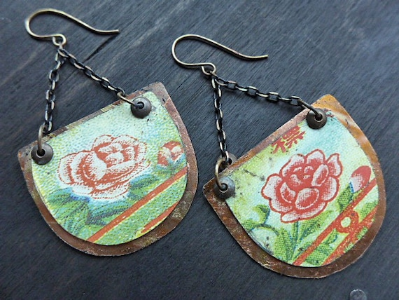 Golden Roses. Rustic statement earrings with vintage tin and gold leaf - primitive artisan jewelry.